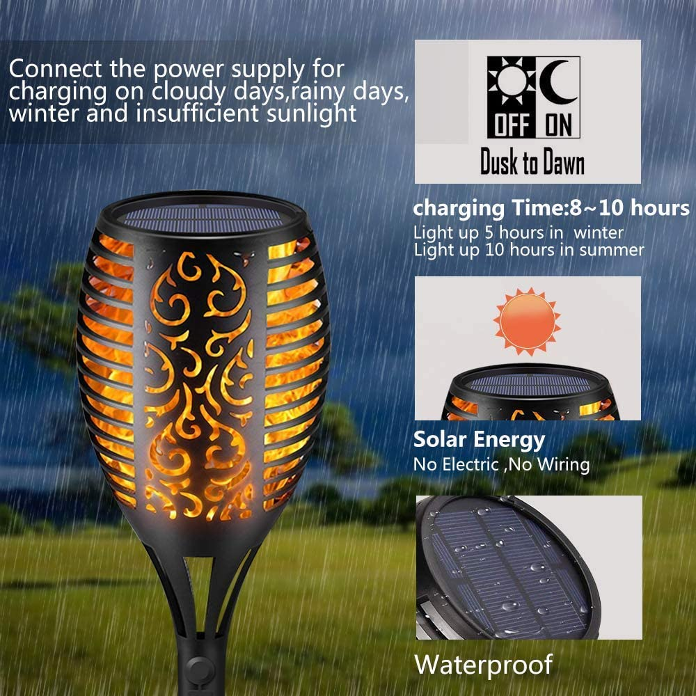Tooklanet Solar Torch Light Flickering Flames Waterproof Landscape Lighting Led Pathway Dusk to Dawn Auto On//Off Christmas Gadge Path Light for Yard Garden Outdoor Party and Festival Decoration