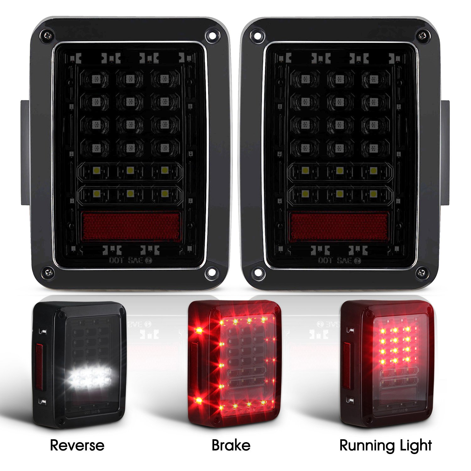 Amazon.com: Smoked LED Tail Lights for 2007-2017 Jeep Wrangler Brake Reverse  Light Rear Back Up Lights Daytime Running Lamps DRL: Automotive