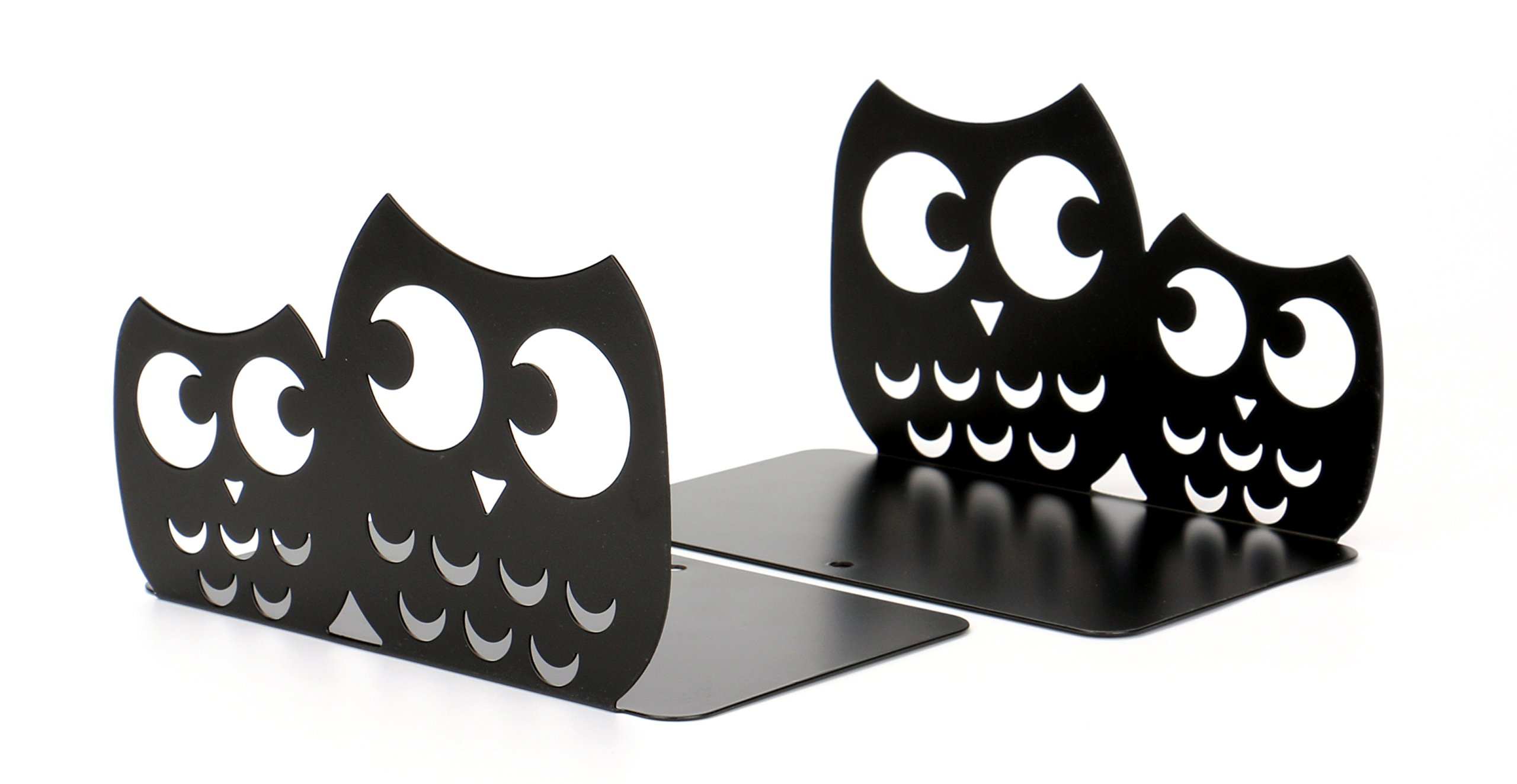 Fasmov Owls Nonskid Bookends Cute Bookends Art Bookends,1 Pair (Black) by Fasmov