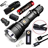 Klarus XT12GT CREE LED XHP35 HI D4 LED 1600 Lumens 18650 Tactical Rechargeable Flashlight With SKYBEN USB Light and Car Charger and Adaptor
