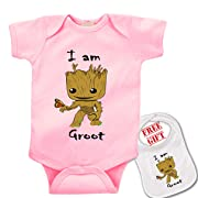 I Am Groot   Cute Custom boutique Baby bodysuit onesie & matching bib