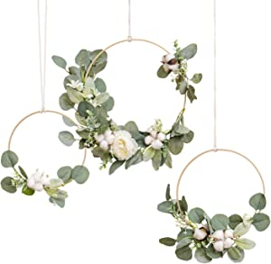 Ling's moment Eucalyptus Hoop Wreath,Rustic Wedding Garland Greenery Set of 3, Home,Bedroom,Nursery Wall Décor,Arch Rose Garland Decor, Woodland Wedding Decoration Magnolia Wreath