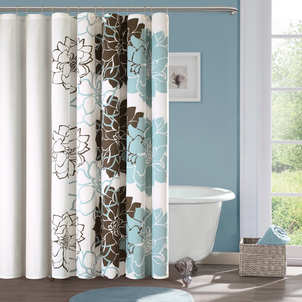 Brown shower curtains - Amazon Com Madison Park Mp70 324 Lola Cotton Shower Curtain Blue Brown Home Kitchen