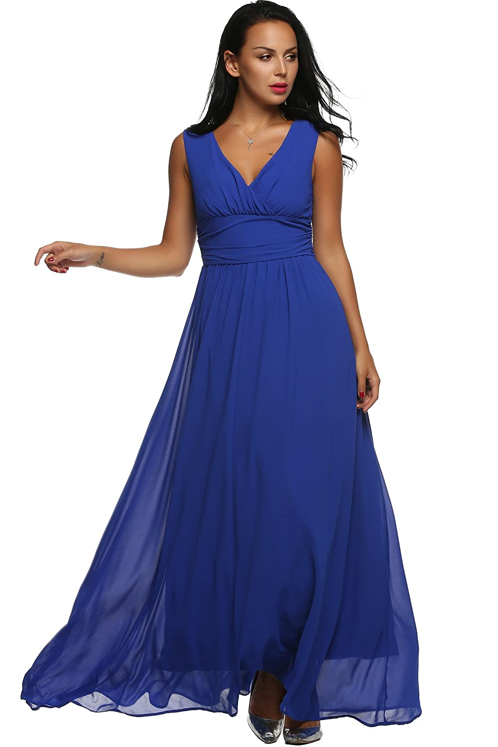 ANGVNS Chiffon Dress Sleeveless Ruched Waist Double V-neck Long Evening Dress