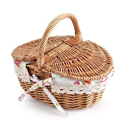 ZJchao Wicker Picnic Basket, Oval Double Lidded Wicker Linen Floral Picnic Storage Basket for Holiday Camping Use or Home Deco: Home & Kitchen