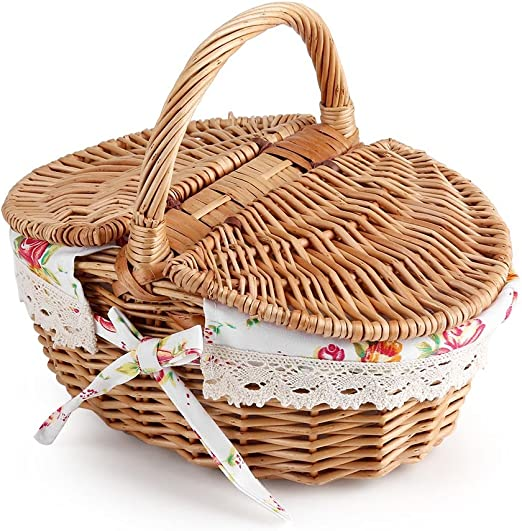 Fdit Wicker Picnic Basket, Storage Container with Handles and Liner Holiday  Camping Use Home Wedding Decoration