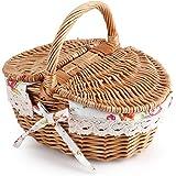 Cesto da picnic ovale contenitore di stoccaggio con coperchio a doppio vimini con maniglie – idee per compleanno, matrimonio, anniversario