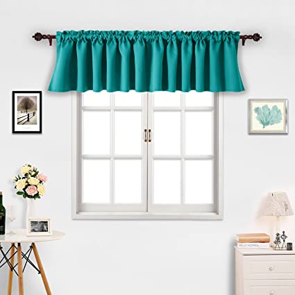 Deconovo Turquoise Valances For Window Kitchen Valance Textured Embossed Blackout Curtain 42x18 Inch 2 PCS