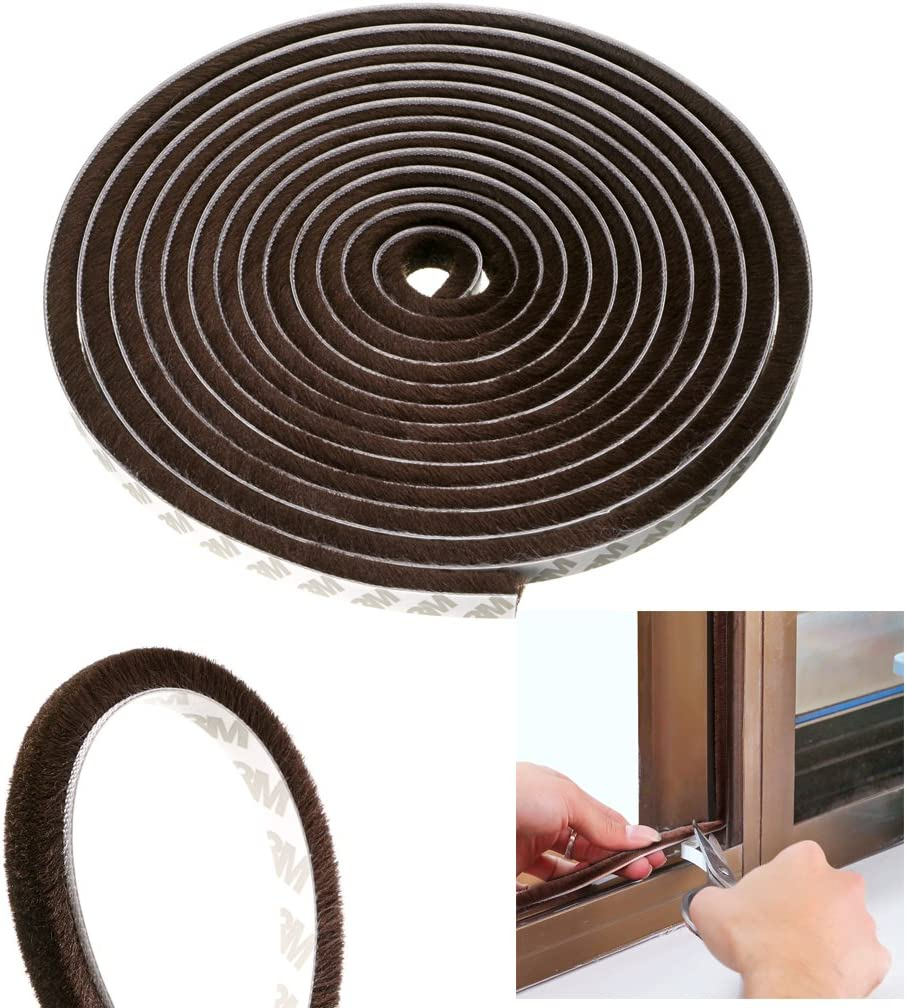 Wardrobe 16 ft Long Sumnacon 3 Pcs Weatherstrip for Window,Door Car Dustproof 11//32x11//32 inch, Brown Perfect to Windproof Shelter from The Wind Soundproof Sound Deadener