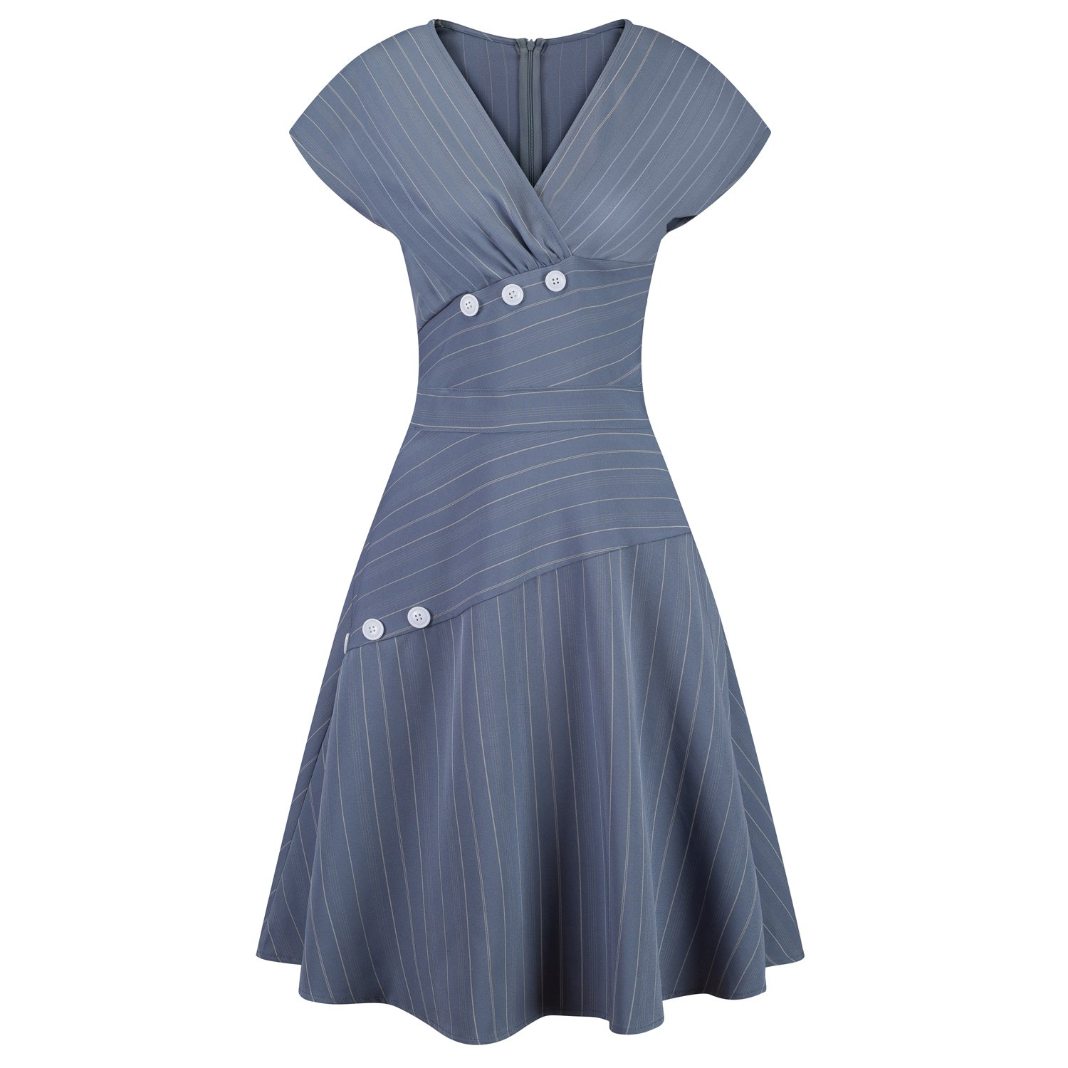 9545fee7f4 This vintage inspired dress features an elegant V shaped neckline