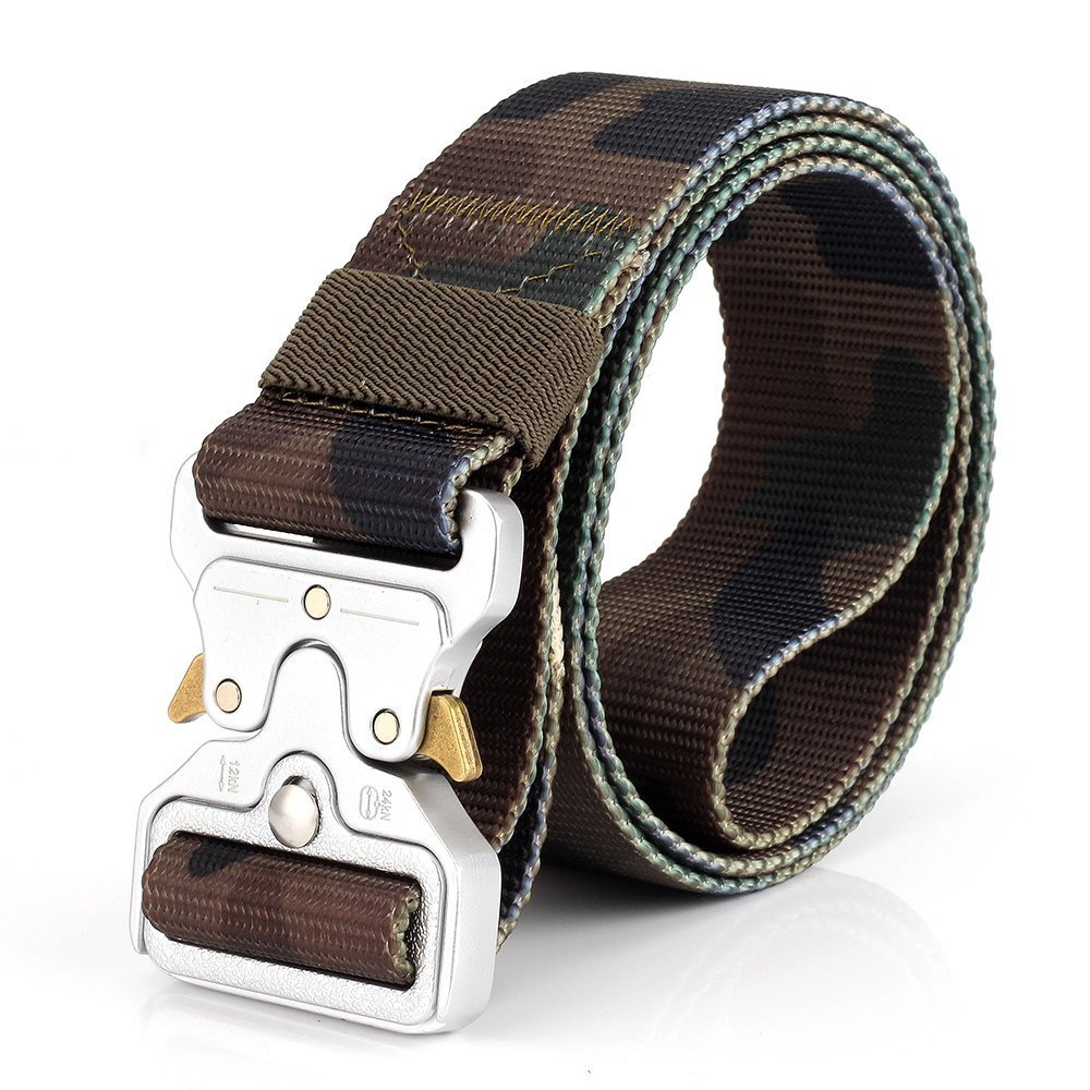 Military Style Webbing Riggers Nylon Web Belt with Heavy-Duty Quick-Release Metal Buckle ITIEZY Tactical Belt