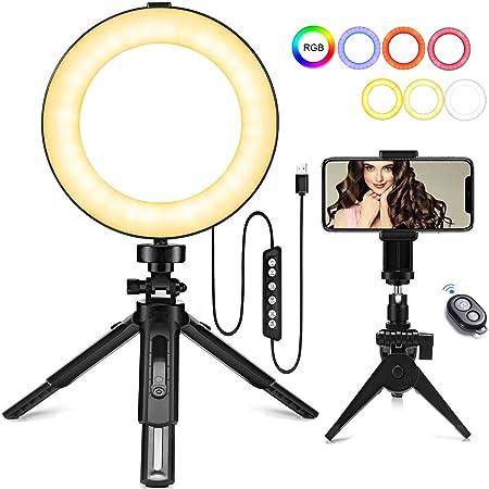 """Todo para el streamer: Aro de Luz LED Regulable 6"""", MACTREM Anillo de Luz RGB para Fotografia con Trípode y Soporte para Teléfono Lámpara para Maquillaje, Movil, Selfie, Youtube, Transmisión en Vivo Grabación de vídeo Vlog"""