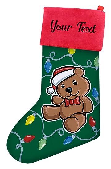 Bear Christmas Stocking.Amazon Com Custom Christmas Stockings Kids Christmas Teddy