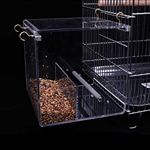 Bird Feeder Seed Catcher Tray Hanging Cup Food Dish for Cage for Small Birds Lovebirds Cockatiels