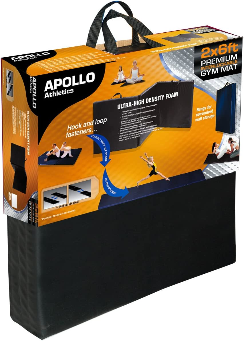 Apollo Athletics Foldable Mat, 6-Feet x 2-Feet x 1-Inch