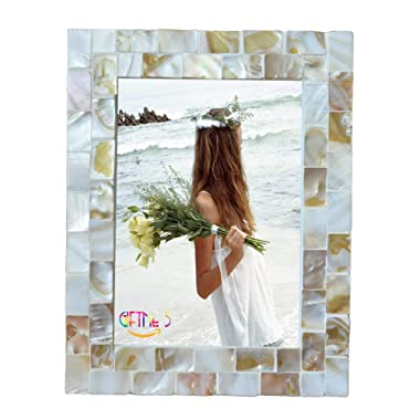 GIFTME 5 Picture Frames 5x7 Mother of Pearl Photo Frame,Beach Picture Frame (5x7, Natural White)