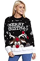 Ladies Merry Christmas Reindeer Pompom Pull en maille EUR Taille 36-42