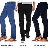 Stylox Regular Slim Fit Pack of 3 Cotton Jeans for Men-Light Blue/Dark Blue/Black