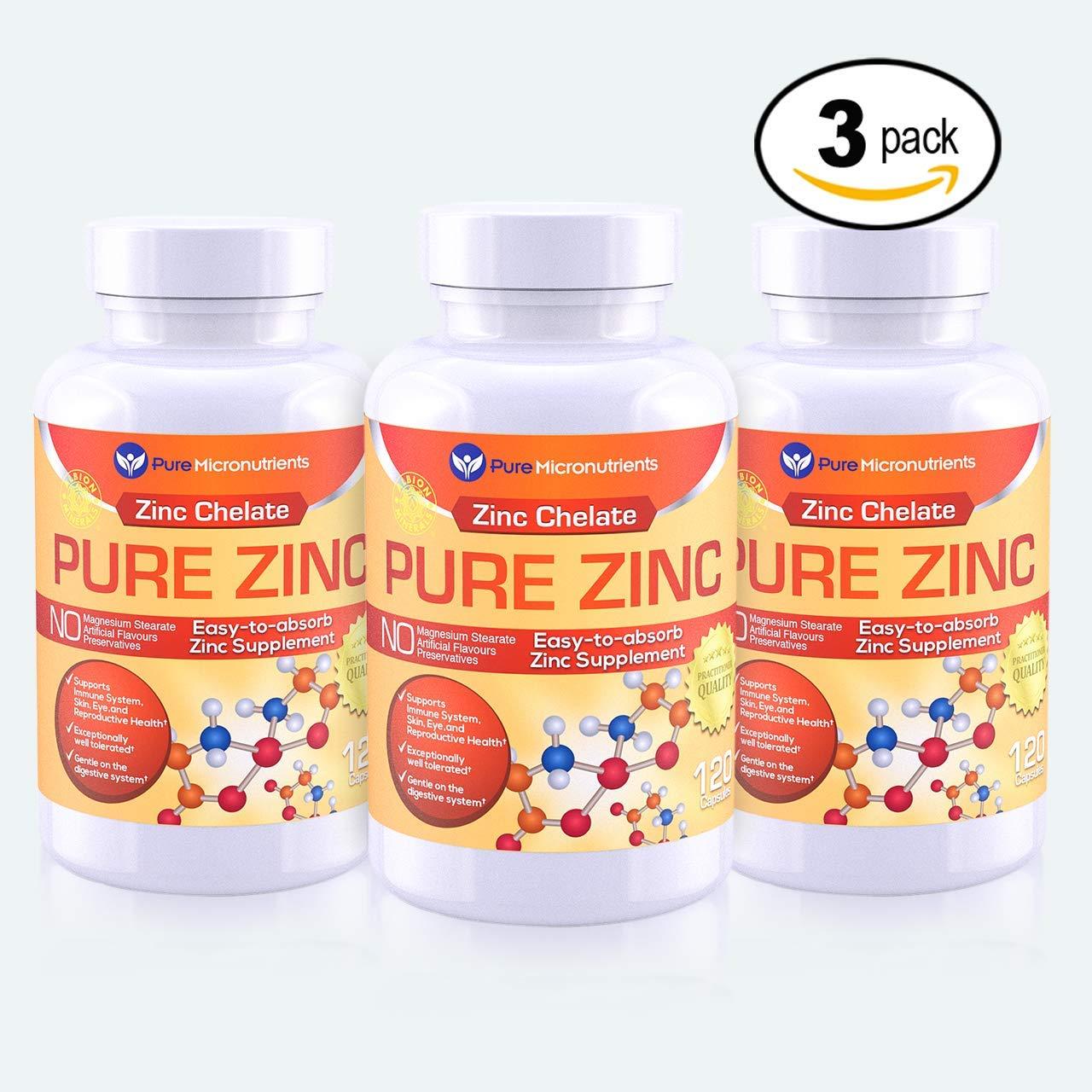Pure Micronutrients Zinc Supplement, Natural Zinc Glycinate Supplements, (Chelated) 25mg, 120 (Mega 3 Pack!)