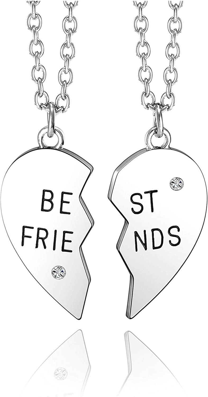 Top Plaza 2 Pcs Best Friends Friendship BFF Sister Necklaces Set Puzzle Matching Heart Alloy Pendant Necklaces