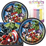 Avengers Themed Party Pack – Includes Paper Plates & Luncheon Napkins Plus 24 Birthday Candles – Serves 16
