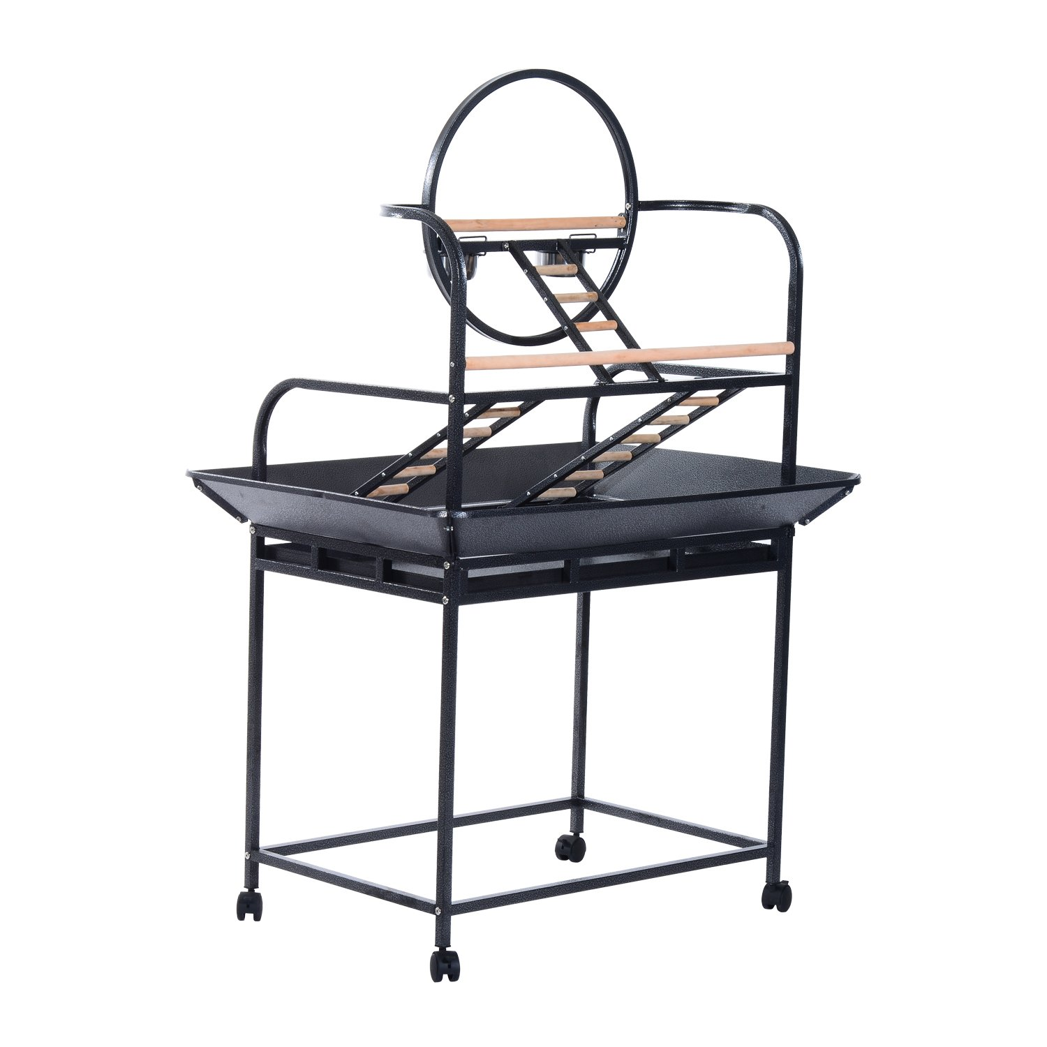 PawHut Rolling Bird Parrot Play Stand Bird Cage Ring Ladder and Feeding Cups w/Wheels Aosom Canada