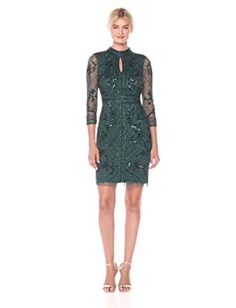 9747929e926 Adrianna Papell Women s Long Sleeve Fully Beaded Cocktail Dress with Grid  Pattern