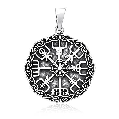 Wikinger Vegvisir Kompass Keltische Knoten Amulett Anhänger 925