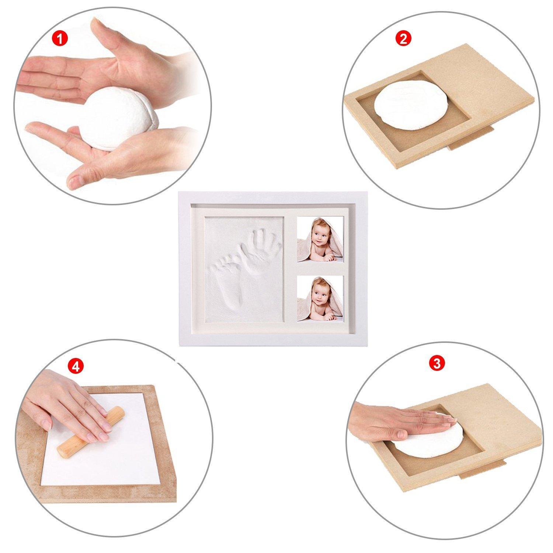 StillCool DIY beb/é Handprint y Marco de huella Inkpad de fotos Regalos Babyparty seguros y elegantes Elegante blanco de madera s/ólida para reci/én nacidos//beb/é Regalos