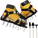 Oiuros Lawn Aerator Shoes, Easiest to USE Lawn Aerator Sandal, Heavy Duty Spiked Sandals for Aerating Your Lawn or Yard