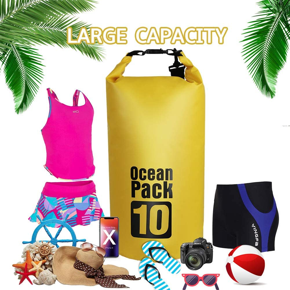 EJEAS Waterproof Dry Bags Set of 3 Dry Bag Zip Lock Seals /& Detachable Adjustable Shoulder Strap Swimming Can Be Submerged Into Water for Water Sports Waist Pouch /& Phone Case Kayak Rafting /& Boating