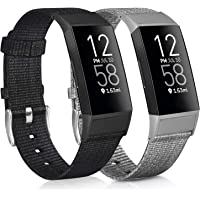 [2 Pack] Woven Fabric Bands Compatible with Fitbit Charge 4, Fitbit Charge 3 / Charge 3 SE for Women Men, Black & Grey