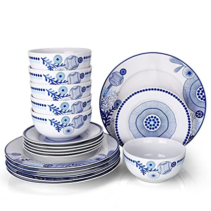 Dinnerware Set For 6,Doublewhale 18 Piece Plates And Bowls Sets Dinner  Plate Dishes