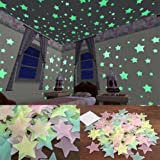 Rurah Room Sticker,Glow In The Dark Star Plastic Shape for Ceiling Wall Kid Bedroom Stickers 100Pcs Packing(3 CM Blue Color)