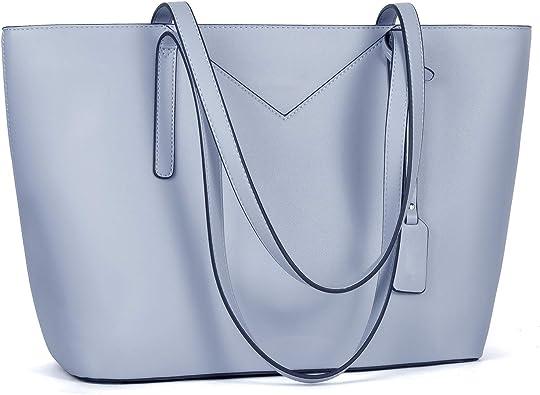 Ladies Tote Handbag Baby Blue Light Faux Leather Designer Bags Shoulder Strap