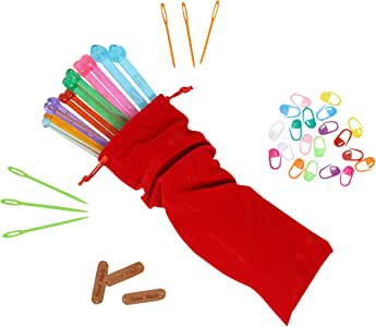 Fairycece Plastic Knitting Needles Set Knitting Needle Case Knitting Kits for Beginners 14 Pcs