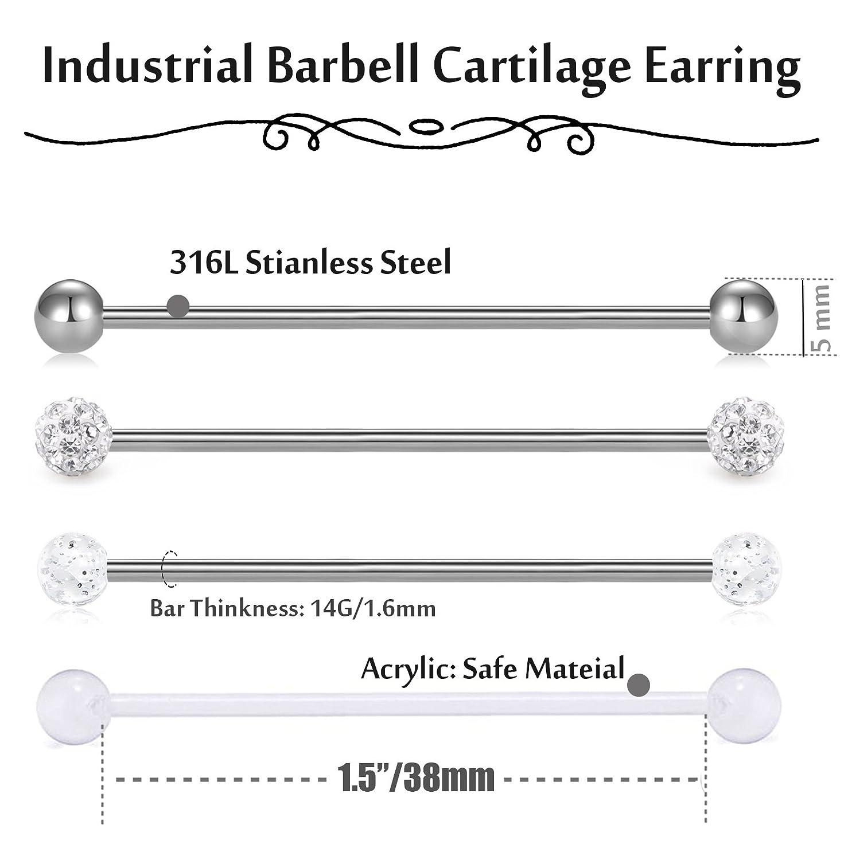 Fibo Steel 12pcs Stainless Steel Industrial Barbell Nose Rings