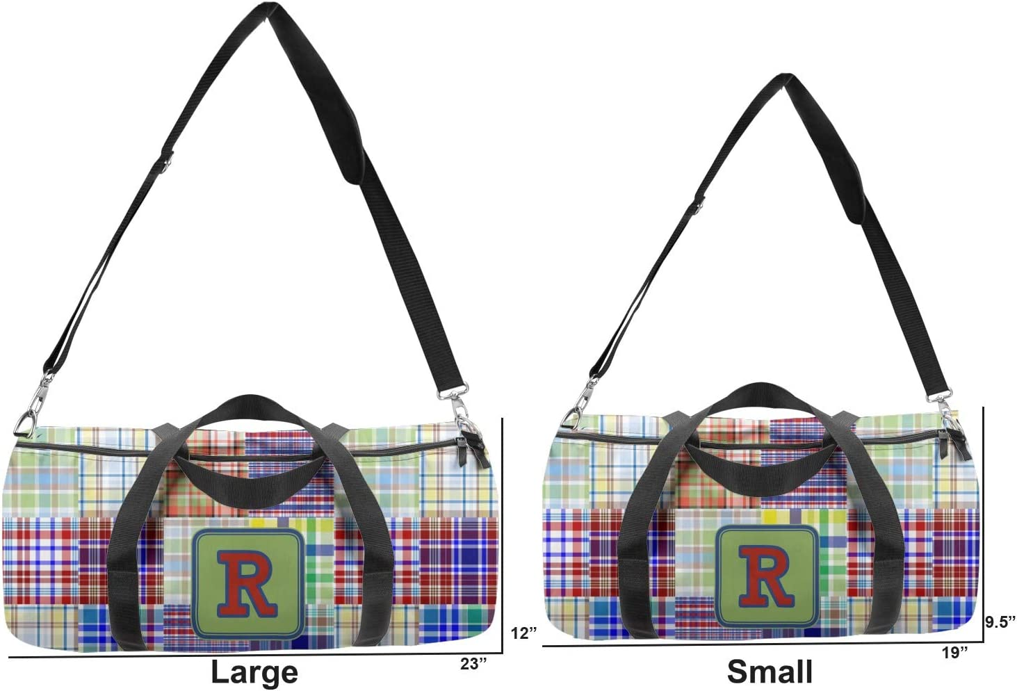 Personalized YouCustomizeIt Blue Madras Plaid Print Duffel Bag