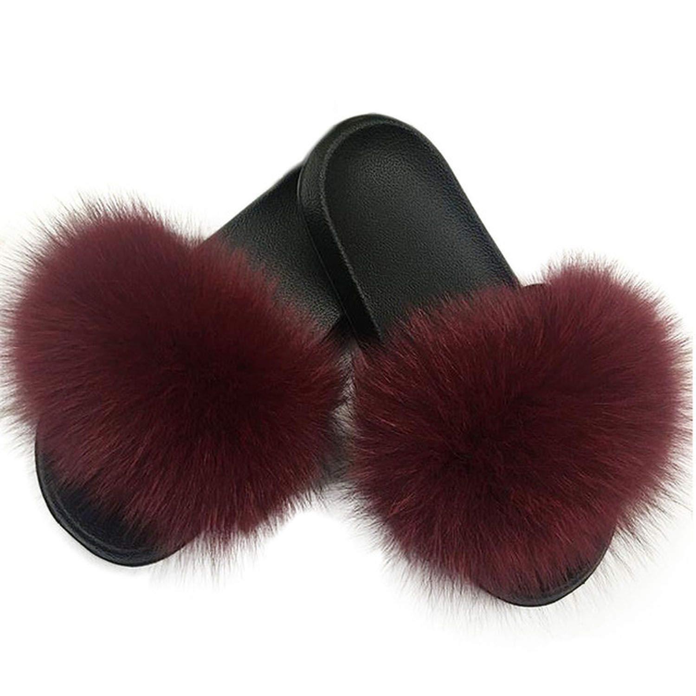 SmarketL High end 2019 New Women Fur Slippers Fluffy Real Fox Hair Slides Flat Soft Indoor Flip Flops Beach Sandals Lady Lovely Plush Shoes