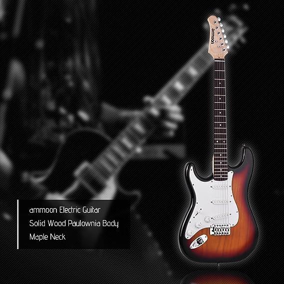 ammoon Guitarra Eléctrica Madera Maciza Paulownia Body Cuello de Arce 21 Trastes 6 Cuerdas con Altavoz Diapasón Bolsa de Guitarra Selecciones de Correa Mano ...