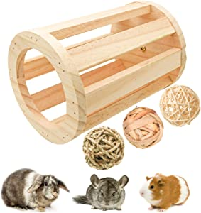 suruikei Rabbit Hay Feeder Rack Wooden Cylindrical Food Manger Grass Holder Hay Food Bin Feeder for Small Animals, Bunny Feeder, Guinea Pig Food Bowl, Chinchilla Hay Bin (1+3)
