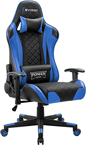 Devoko Racing Style Gaming Chair Height Adjustable Swivel PC Computer Chair with Headrest and Lumbar Support Leather Reclining Executive Office Chair Blue