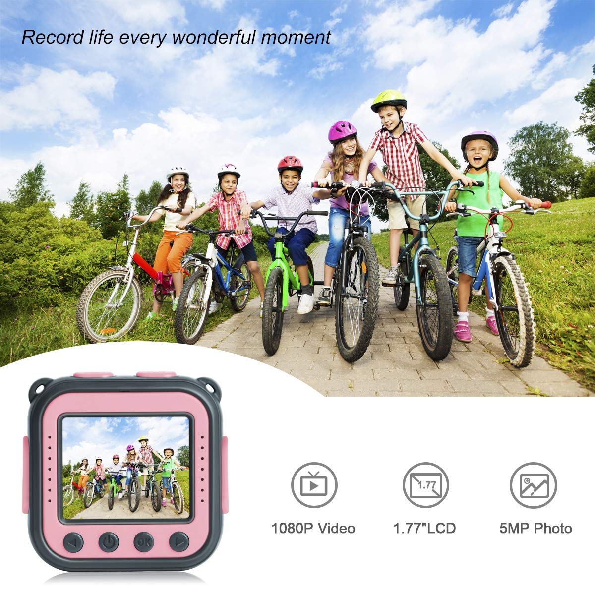 DROGRACE Children Kids Camera Waterproof Digital Video HD Action Camera 1080P Sports Camera Camcorder DV for Girls Birthday Holiday Gift Learn Camera Toy 1.77\'\' LCD Screen (Pink)