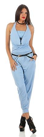 92d5cfeb63cffb Damen Stretch Neck Neckholder Overall Jumpsuit Einteiler Hosenanzug  Wasserfall VIELE Farben hellblau Variante mit Spitze 34