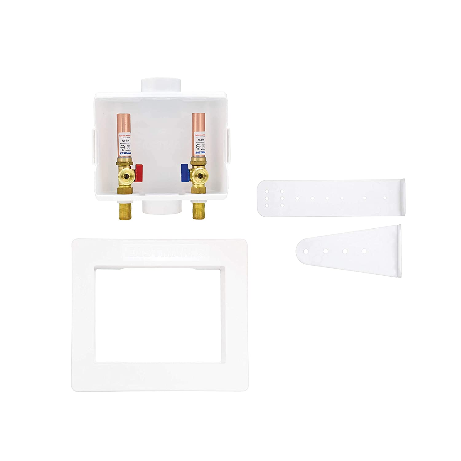 "Eastman 60253 Sweat Center Drain Washing Machine Outlet Box with Hammer Arresters, 1/2""-Inch Sweat Connection, with 1/4-Turn Ball Valves Installed, White"