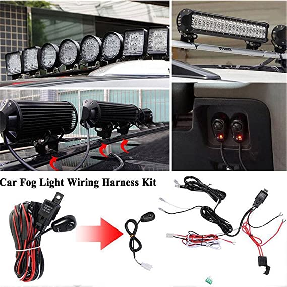 amazon com 12v 40a relay wiring harness work fog light bar kit on rh amazon com