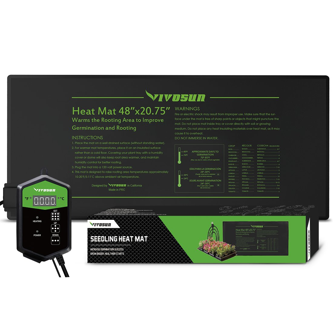 "VIVOSUN 48""x20.75"" Seedling Heat Mat and Digital Thermostat Combo Set"
