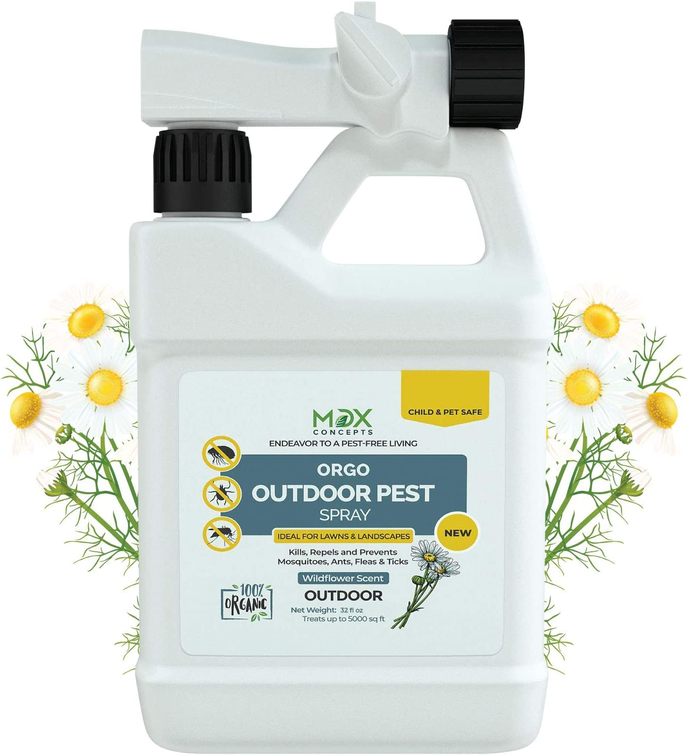 mdxconcepts Organic Ready to Use Yard Flea, Tick and Mosquito Spray – Made in USA - Mosquito and Insect Killer, Treatment, and Repellent – Safe for Pets, Plants, Kids - 32 oz