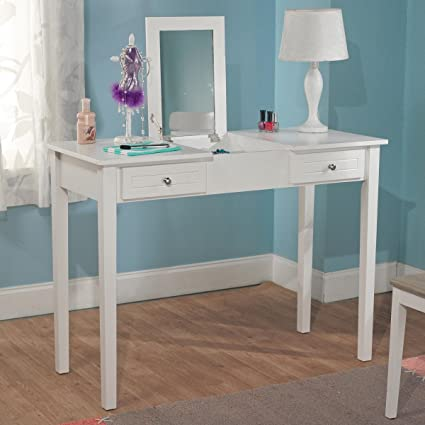 Popular Amazon.com: Bedroom White Charming Vanity Desk with Mirror Perfect  NO83
