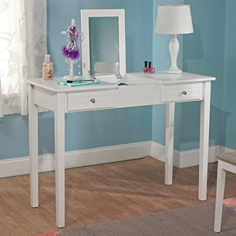 Bedroom White Charming Vanity Desk With Mirror Perfect For Girls Makeup Or Writing Desks For Home Office Made Of High Quality Mdf With Two Small